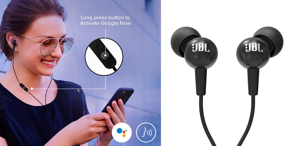 JBL C100SI In-Ear Deep Bass Headphones with Mic